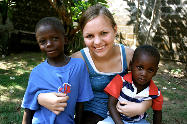 American Teen with African Boys