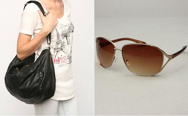 black purse and sunglasses