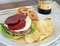 Aussie burger with beets and a fried egg