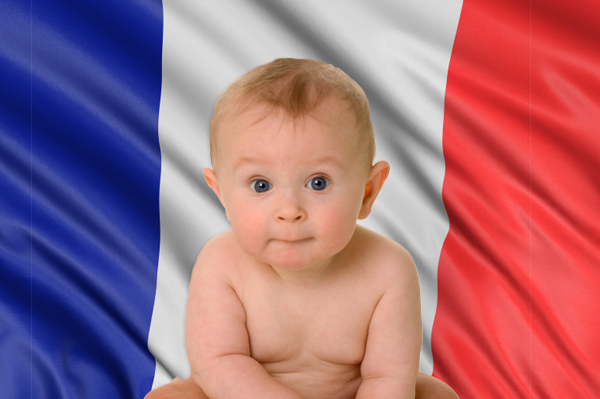 Baby in front of french flag.