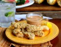 Baked chicken fingers with sweet and tangy dipping sauce