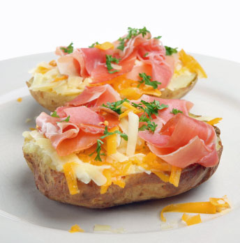 baked potato with ham and cheese