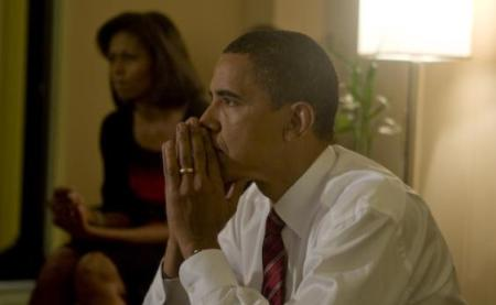 Barack Obama and Michelle await the results on election night
