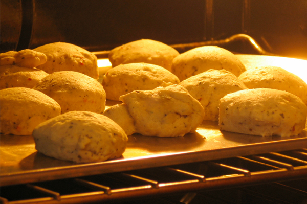 Biscuits In Oven.