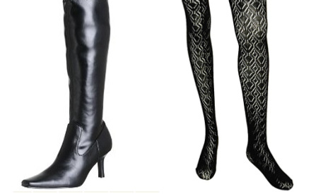 Black boots - Textured tights
