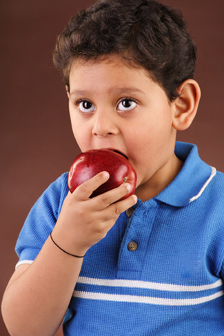 Boy Eating Apple on Roadtrip