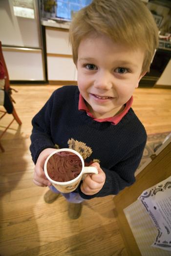 Boy with microwave cake