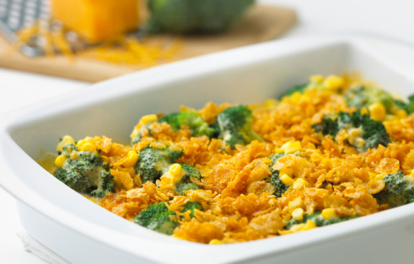 Cheddar broccoli corn bake