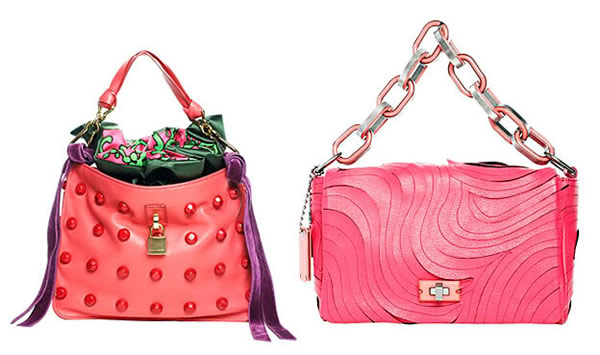 brightly colored chain strap purses