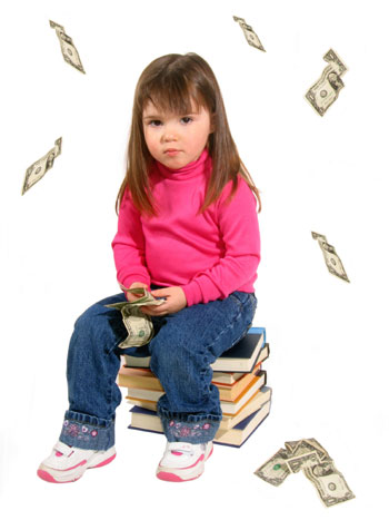 Child Sitting on Textbooks