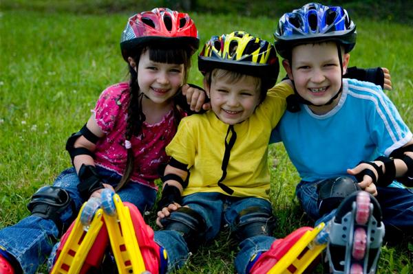 Children Wearing Rollerblades