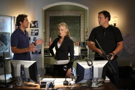 Zachary Levi, Yvonne Strovski and Adam Baldwin in Chuck