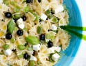 Cold pasta salad with asparagus, feta, blueberries & basil