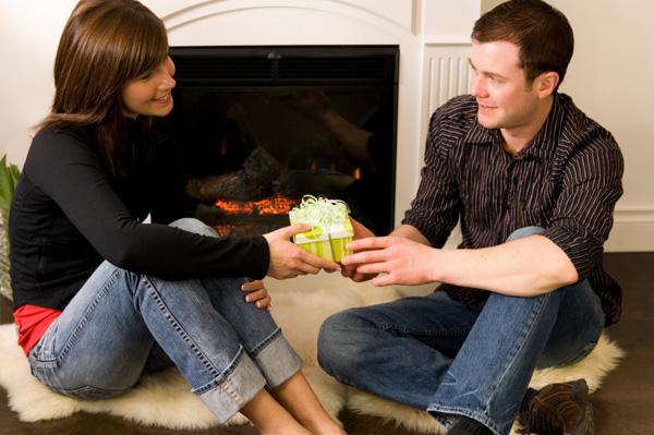 Couple exchanging gift
