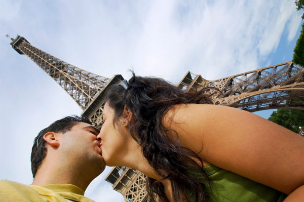 Couple in France by Eiffel Tower