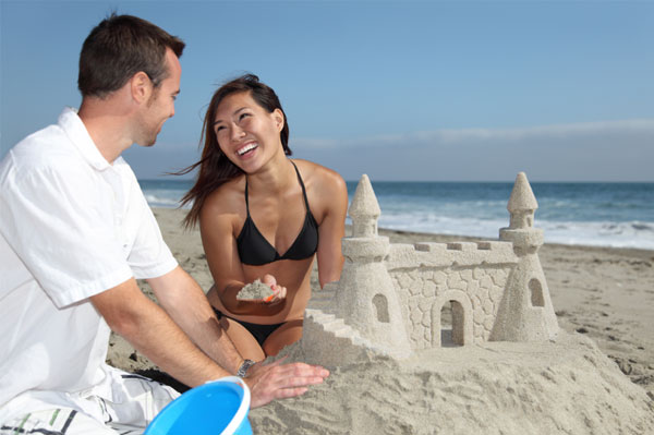 Couple Making Sandcastle