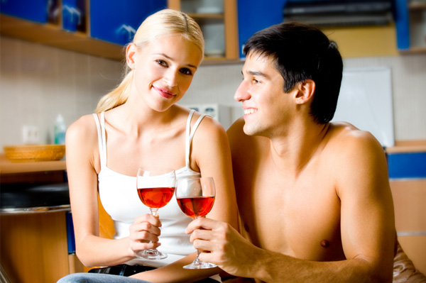 Couple Drinking Wine at Home