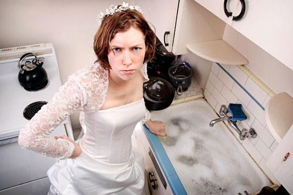 Disgruntled Housewife wearing Wedding Dress