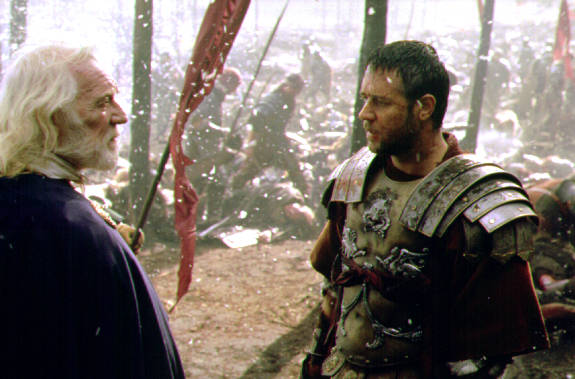 Richard Harris and Russell Crowe in Gladiator