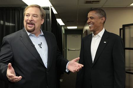 Rick and Barack share a laugh backstage