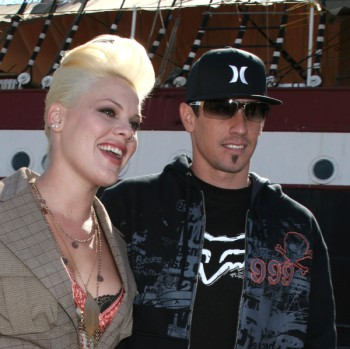 Pink and Carey in happier days Rocker Pink and her sports star hubby,