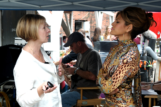 Writer-director Diane English coaches Eva Mendes