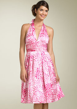 Adrianna Papell silk floral halter dress
