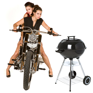 Motorcycle Girls and BBQ Grill