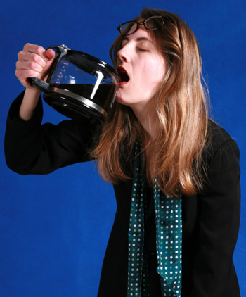 Woman Drinking out of Coffee Pot