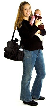 Mom with Infant and Diaper Bag