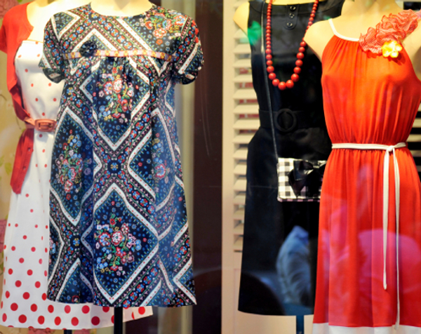 Dresses in store window