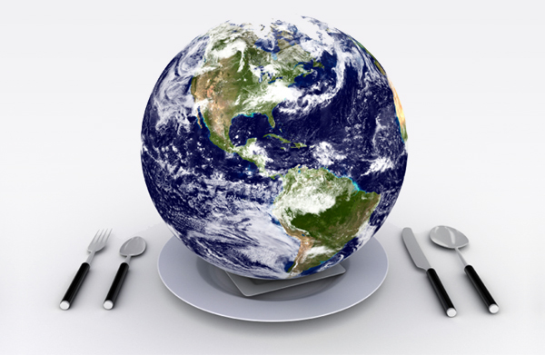 Earth on a plate.