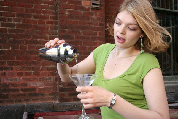 Woman Mixing Drinks