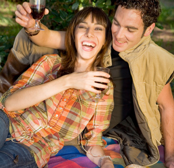 Couple Having Picnic in the Fall