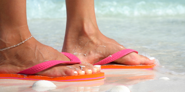 A pair of flip flops at the pool can ward off fungal foot infections