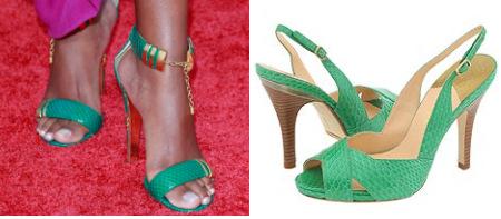 Green snake-embossed sandals