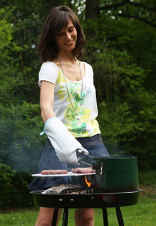 Woman Grilling Healthy Burgers