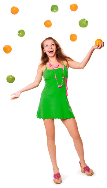 woman juggling fruit - eating for energy!