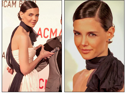 Katie Holmes - hair slicked back