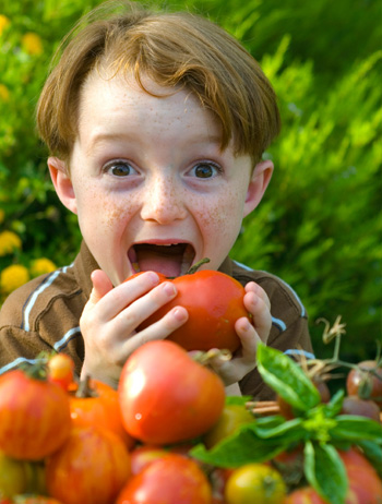 Boy Eating Tomato
