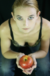 Sad Woman with Apple
