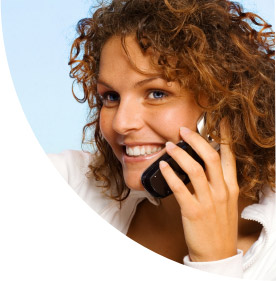 Smiling woman on a cellphone