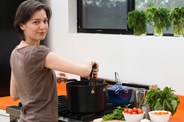 Woman in Small Kitchen