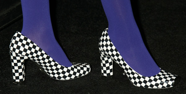 Solange Knowles in checkered high heel shoes