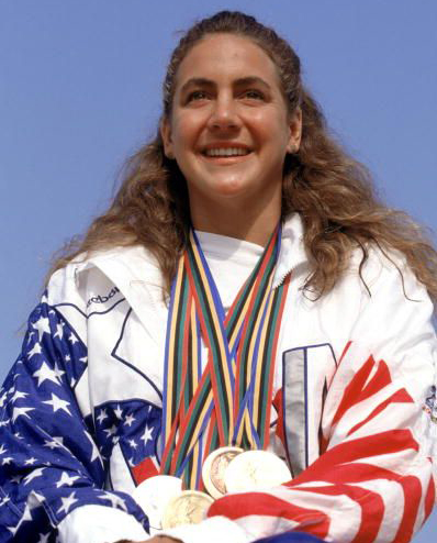 The darling of the 1992 Olympics weilds her medal