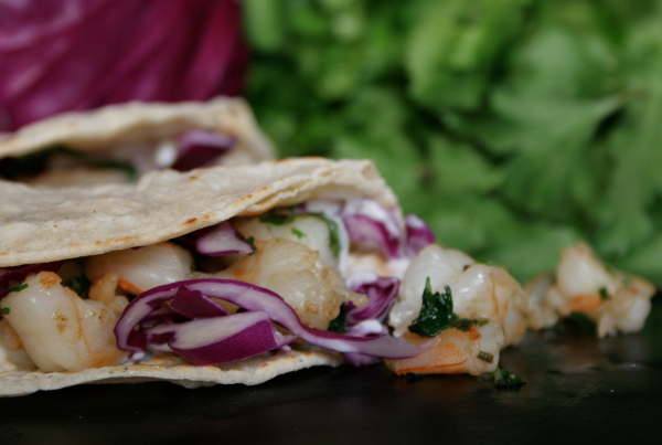 Shrimp tacos with tequila