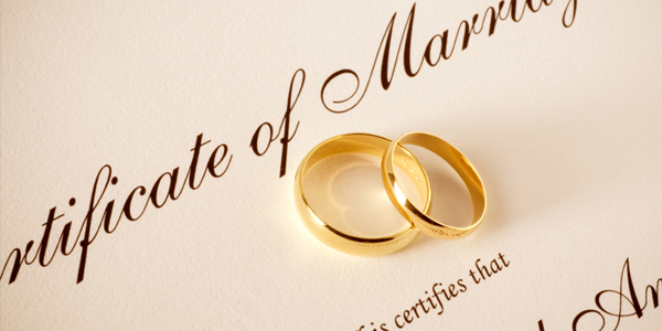 Marriage Certificate & Wedding Rings