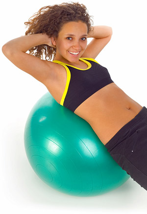 woman on stability fitness ball