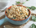 Light and creamy Greek yogurt mac 'n' cheese with spinach