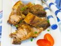 Crispy pork belly with miso-sesame sauce